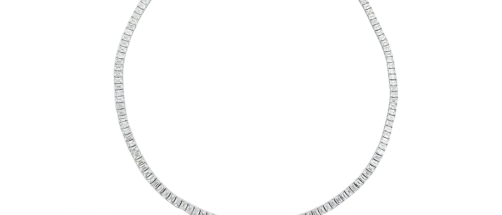 Emerald Cut Diamond Tennis Necklace