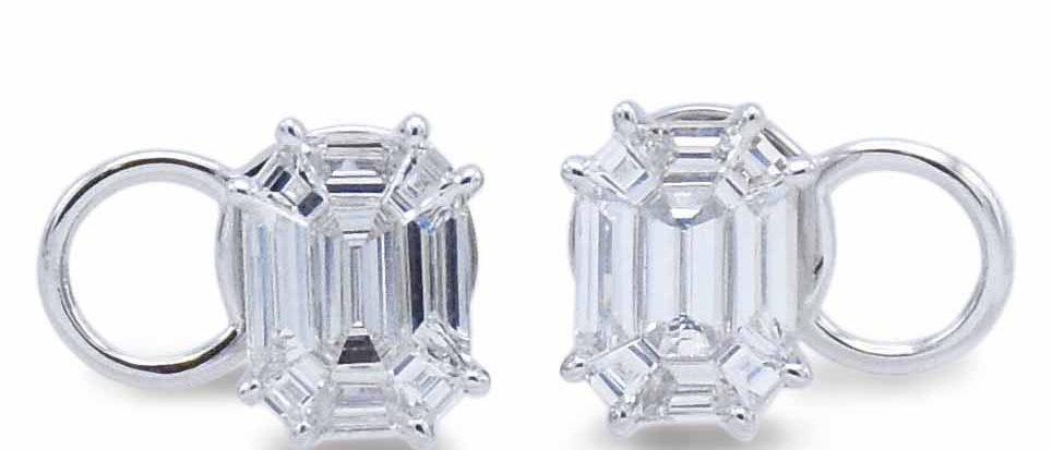 Emerald Cut Illusion Diamond Studs