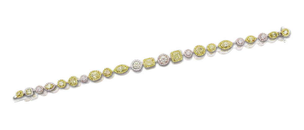 Multi-Shape White, Pink and Yellow Diamond Bracelet