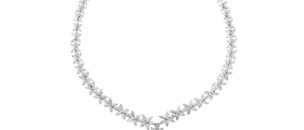 Marquise Flower Diamond Necklace