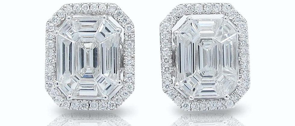 Emerald Halo Pavé Diamond Studs