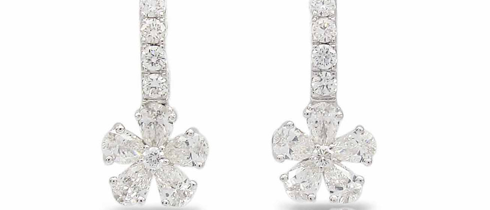 "Flower Diamond ""Huggie"" Earrings"