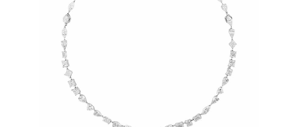 Multi Shape Diamond Tennis Necklace