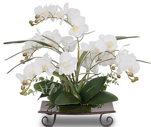 Real+Touch+Cream+White+Orchids+Center+Pi