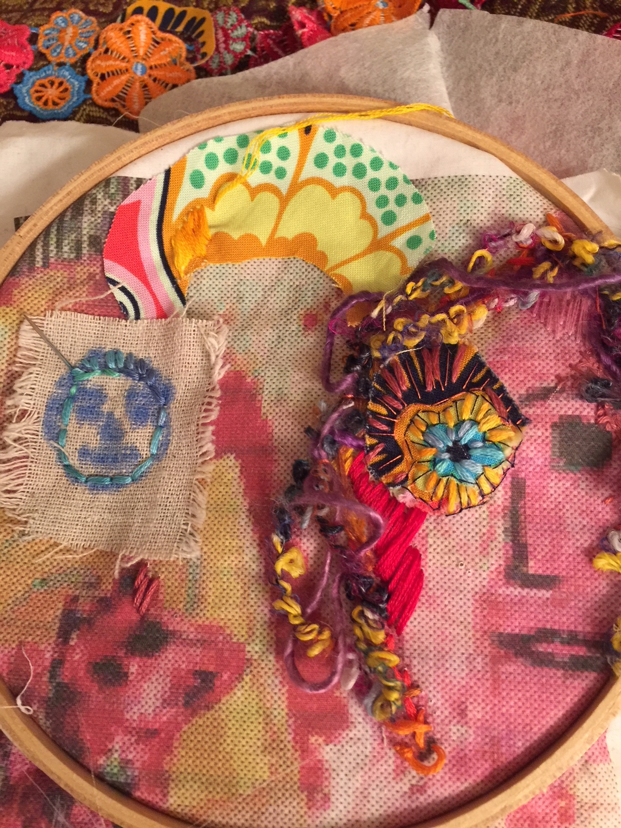 embroidery on painted fabric in progress