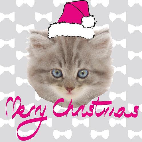 PERFECT PICS - PET CHRISTMAS CARD GREY BOW