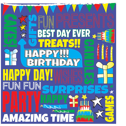 FUNKY FONT - BIRTHDAY CARD (M) BLUE