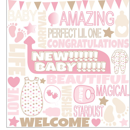 FUNKY FONT - BABY GIRL CARD