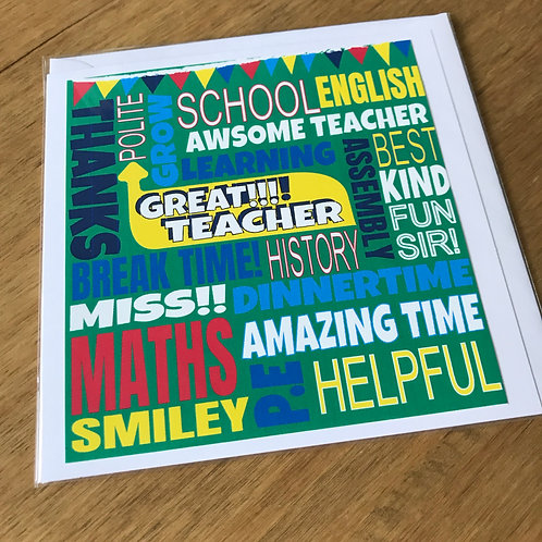 FUNKY FONT - TEACHER CARD GREEN