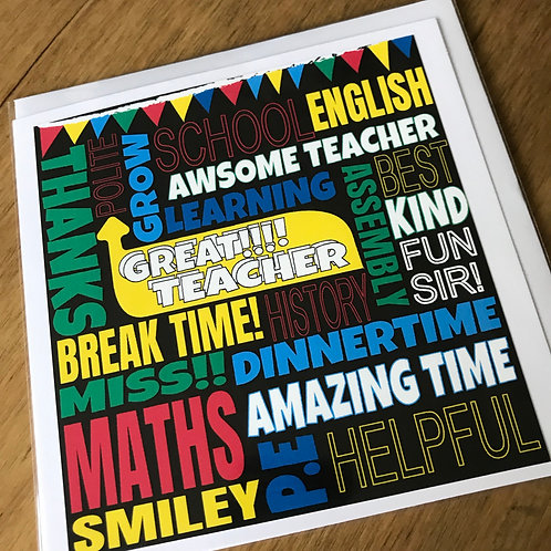 FUNKY FONT - TEACHER CARD BLACK