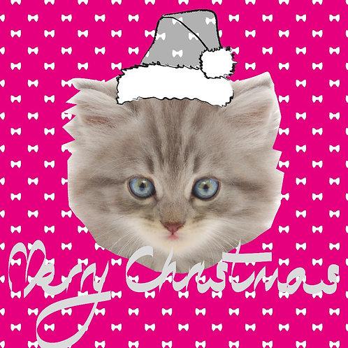 PERFECT PICS - PET CHRISTMAS CARD PINK BOW