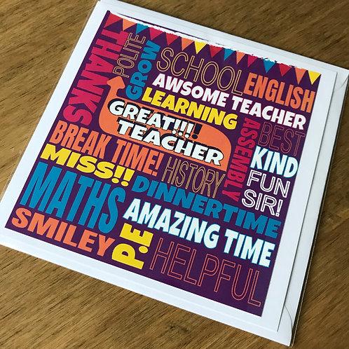 FUNKY FONT - TEACHER CARD PURPLE