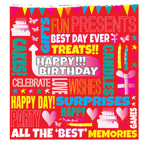 FUNKY FONT - BIRTHDAY CARD (F) PINK