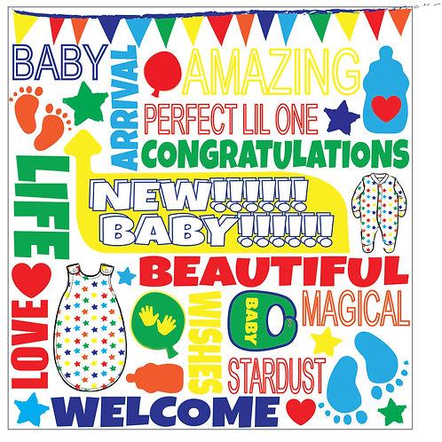 FUNKY FONT - BABY BOY CARD