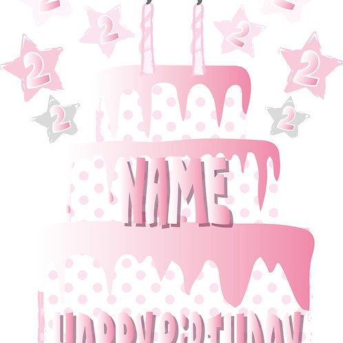 PERFECT PICS - BIRTHDAY CARD CAKE BABY PINK