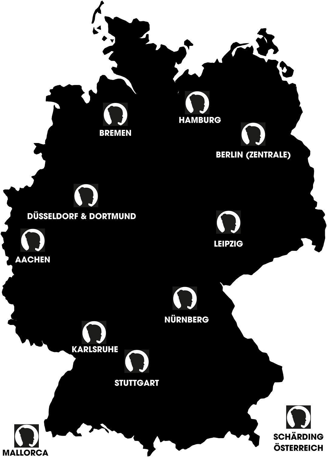 WOWbrows Standorte auf Deutschlandkarte.
