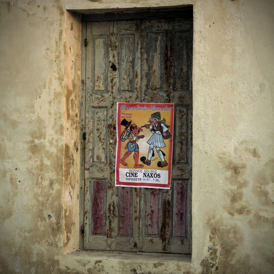 Old window with poster