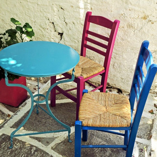 Colorful chairs, Filoti village