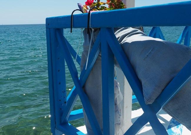 Blue railing and blue sea, Ireon.