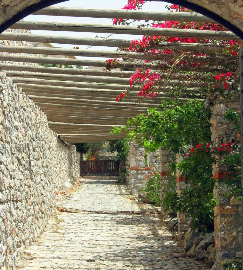 Santorini-monastery-entrance-The-Greekis