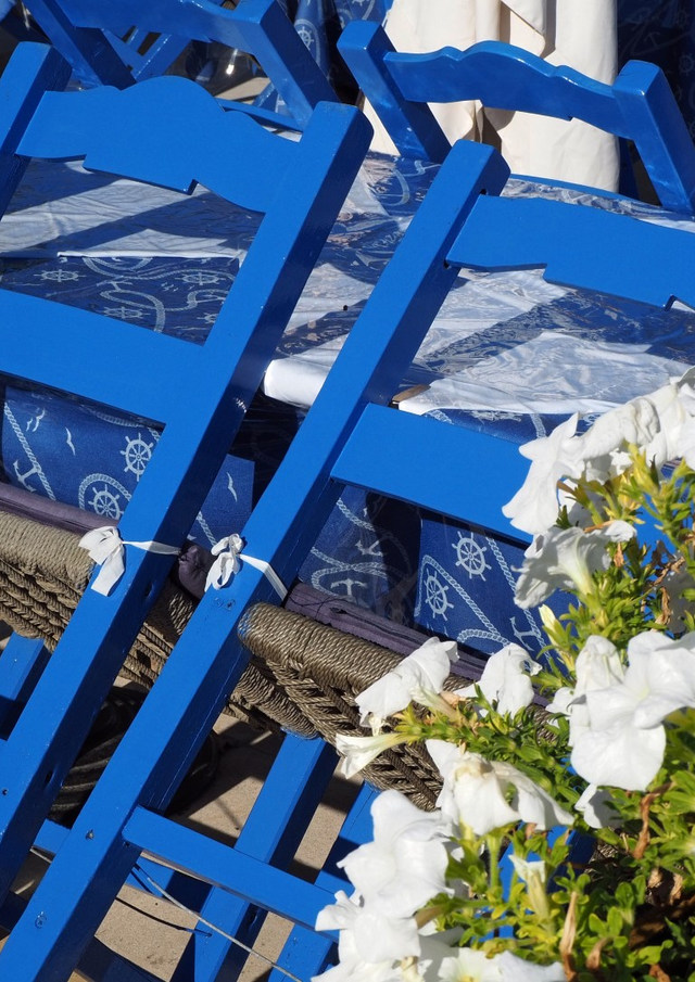 Blue chairs white flowers