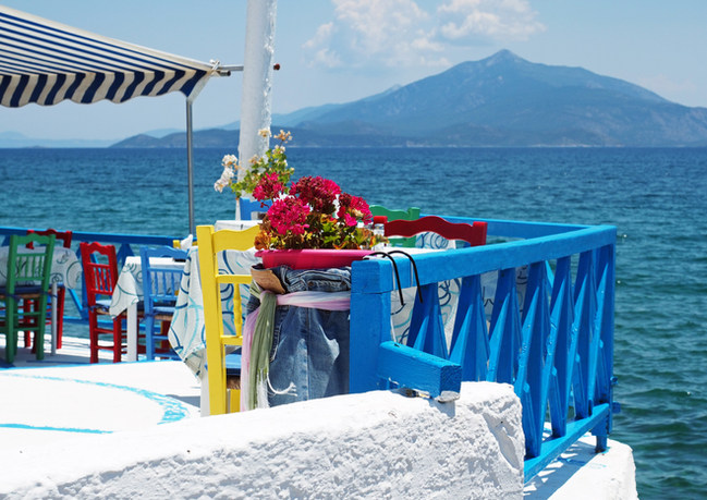 Colorful patio in Ireon, Samos