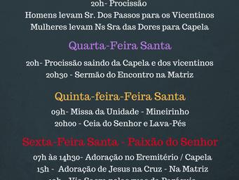 Confira a Programação da Semana Santa em nossa Paróquia