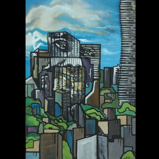 Finished of #portrait #painting of Ryan Fletcher in the #cityscape of #mississauga #graffiti #urbana