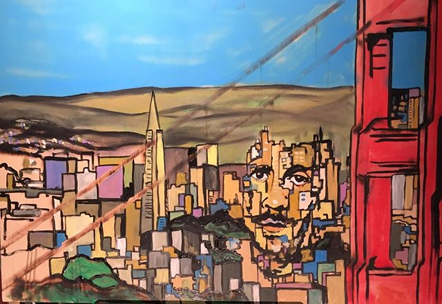 _derekvirgo83 in #sanfrancisco #art #painting #montana94 #cityscape #portrait #goldengatebridge #gra