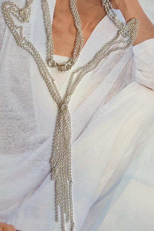 Stilvolle kurze Halskette Silber mit 3 Kettenreihen, als Set mit Ohrringen erhäl