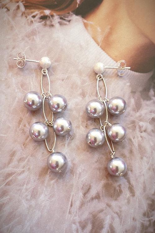 Geschmackvolle Ohrringe Silber mit Swarovski-Perlen