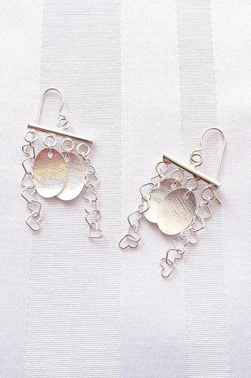 Kollektion BOHO, Feminine Silber-Ohrringe mit Anhänger