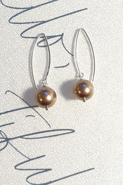 Leichte feminine Ohrringe Silber mit Swarovski-Perlen
