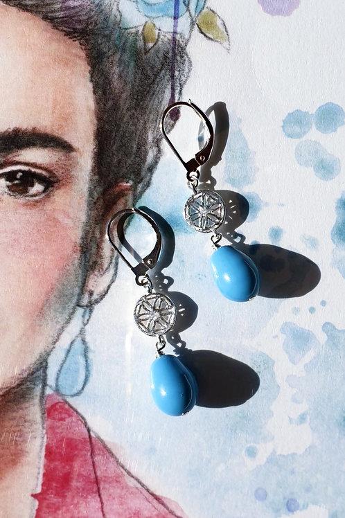 Flotte sommerliche Ohrringe Silber mit türkisfarbigen Swarovski-Perlen