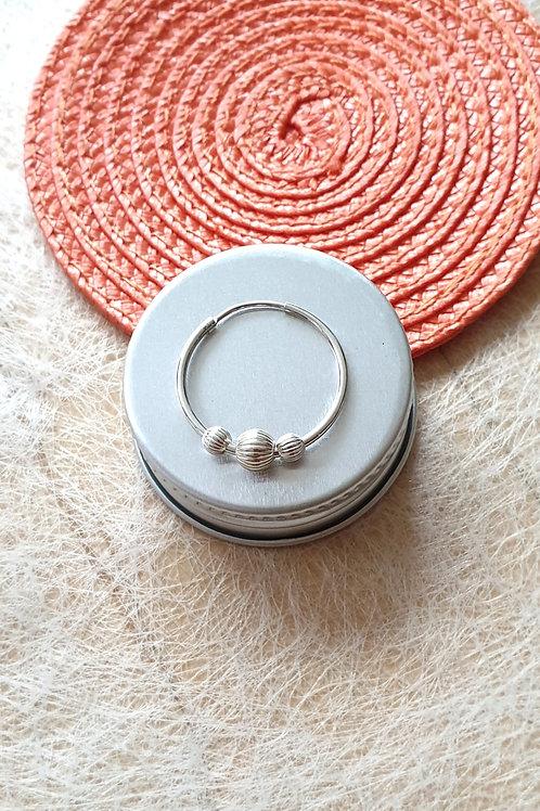 Creolen-Ohrringe Silber mit Silbernen Elementen