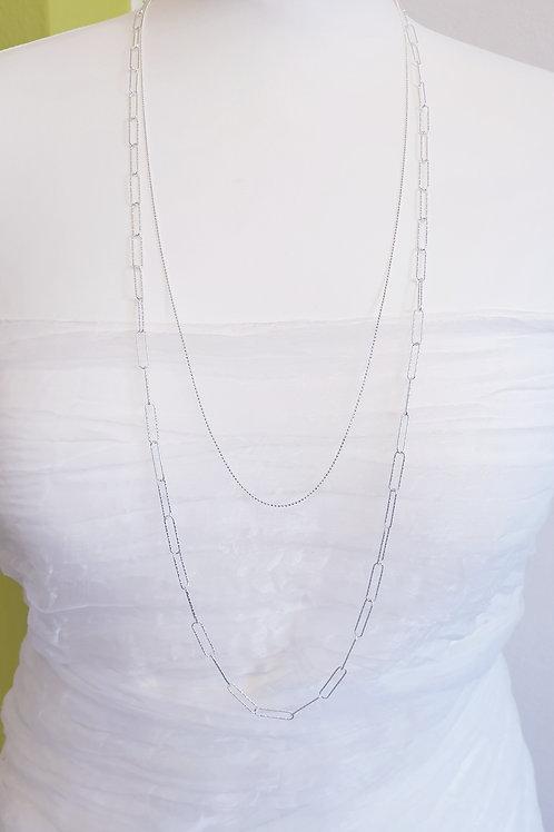 Zeitlose feminine 2-reihige Halskette Silber diamantiert