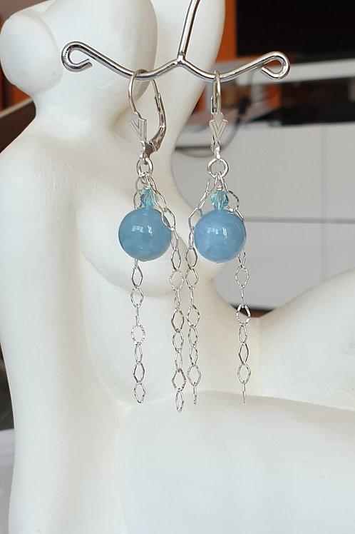 Schlichte Ohrringe Silber mit blauem Aquamarin