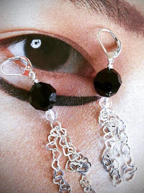 Schlichte Ohrringe Silber mit schwarzen Swarovski-Perlen