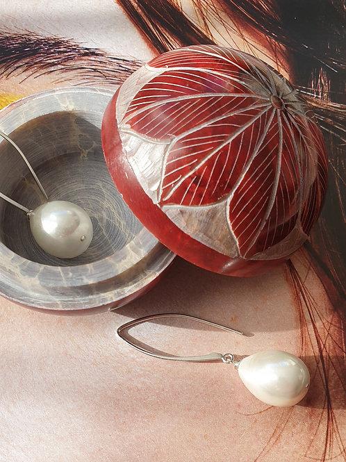 Glamouröse Ohrringe Silber mit Swarovski-Perlen