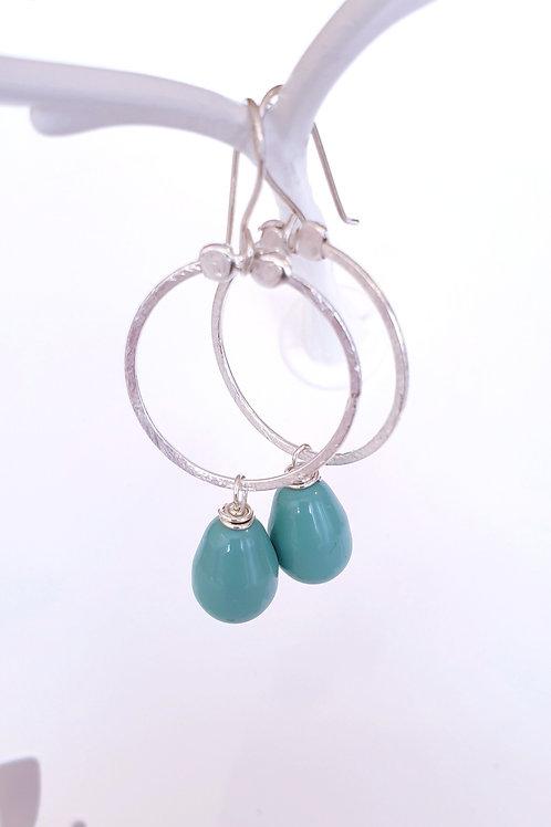 Creolen-Boho Ohrringe Silber mit türkisfarbigen Swarovski-Perlen