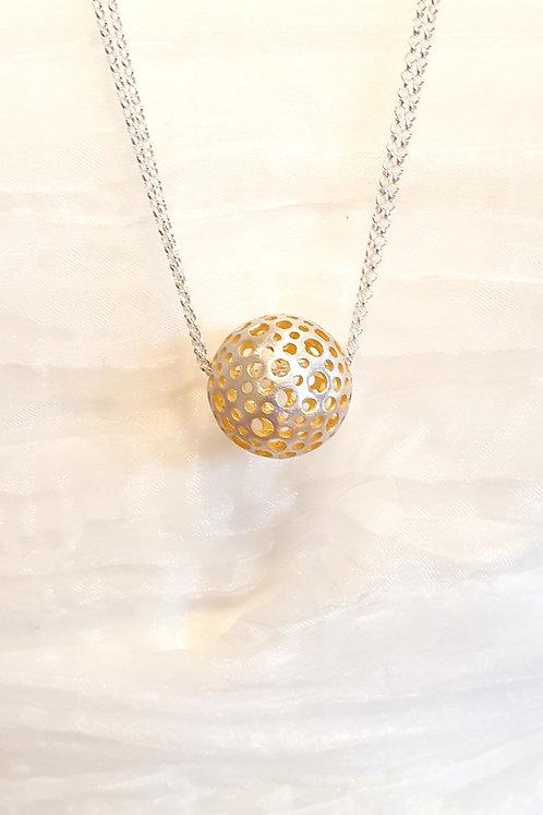 Kollektion ERDE, feine lange Doppel-Halskette Silber, Kugel innen vergoldet