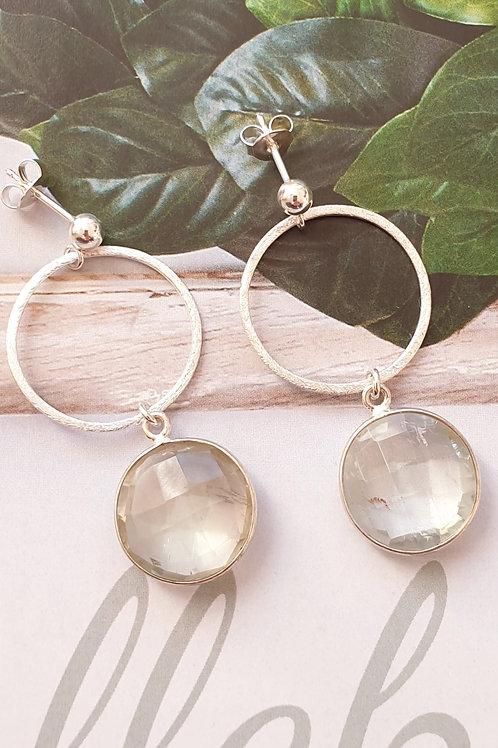 Trendy Ohrringe Silber mit facettiertem Praziolith