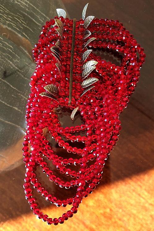 Fashion Armband mit roten facettierten Glasperlen