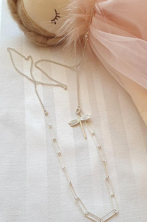 Kollektion ERDE, Feminine Halskette Silber mit Libelle