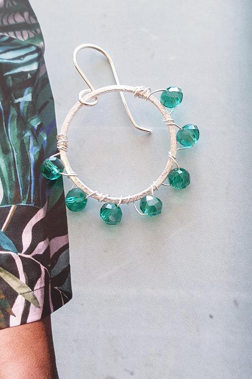 Creolen-Boho Ohrringe Silber mit türkisfarbigen Glas-Perlen