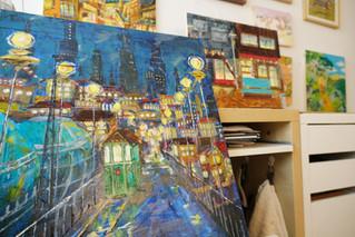 「えんとつ町のプペル」油絵を描きました