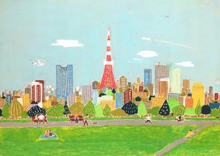 【オリジナル】「東京の街」B2を描きました。