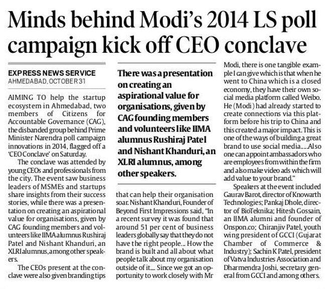 Rushiraj Patel, IIMA alumnus, mind behind Narendra Modi 2014 campaign kick of CEO Conclave.