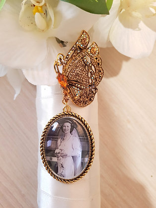 Amber Rhinestone & Antique Gold Butterfly Brooch with Antique Gold Oval Charm