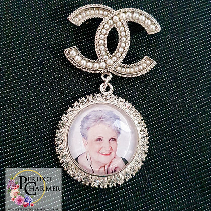 Chanel Logo Brooch with Silver & Rhinestone Single